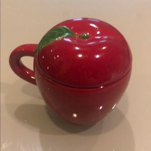 Beautiful apple shape w/lid container ceramic new